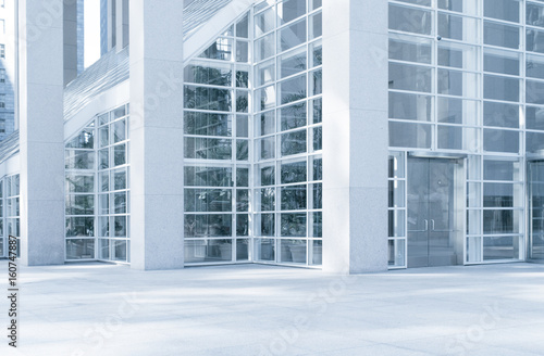 View of modern blue colored contemporary office city building  fragment  - 160747887