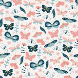 Vector Butterfly Seamless Pattern.