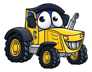 Cartoon Farm Tractor Character