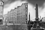 St. Petersburg. View of Saint Petersburg street. Black and white retro style image