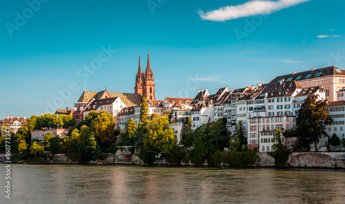 mata magnetyczna Beautiful panoramic view of Basel city in Switzerland