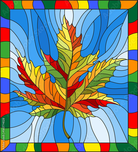 illustration-in-stained-glass-style-with-a-autumn-maple-leaf-on-a-blue-background-in-a-bright-frame