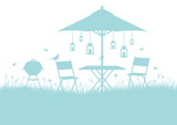 Summer Garden Background Turquoise DIN