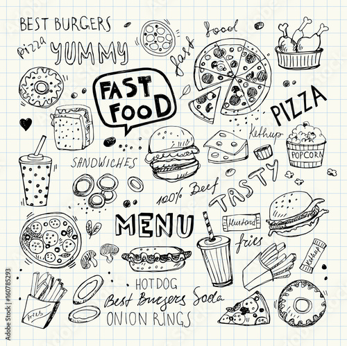 Fast Food Doodles Hand Drawn Vector Symbols And Objects Buy