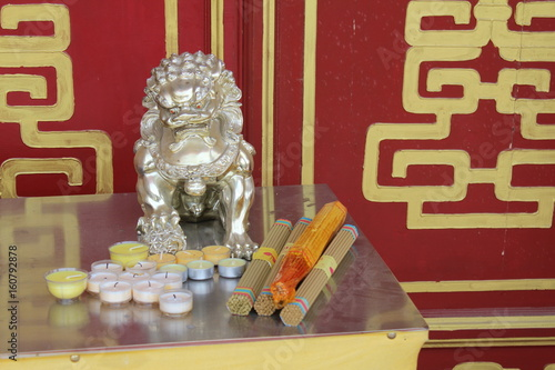 Guardian Lions in a Temple in Qinghai China Asia Poster