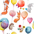seamless pattern with animals with balloons - 160795408