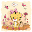 Cute Cartoon Tiger on a meadow