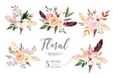 Hand drawing isolated boho watercolor floral illustration with leaves, branches, flowers. Bohemian greenery art in vintage style. Elements for wedding card. - 160802289