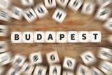 Budapest Stadt Ungarn Reise Reisen Würfel Business Konzept