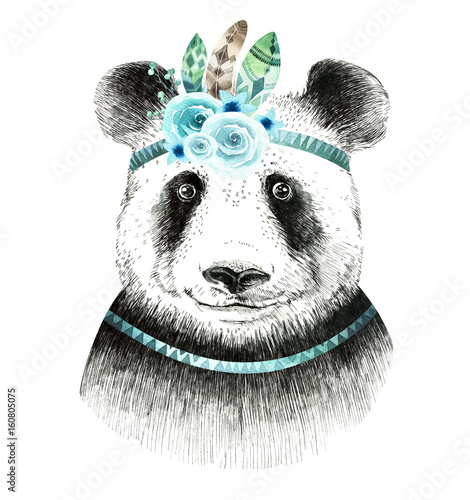 Watercolor panda illustration. Bohemian cute animal. Boho style. - 160805075