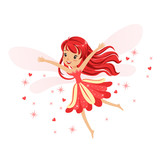 Beautiful Smiling Red Fairy Girl Flying Colorful Cartoon Character  Illustration Wall Sticker