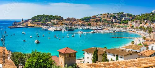 Leinwanddruck Bild Spanien Mittelmeer Küste Bucht von Port de Soller Mallorca