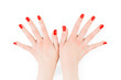 Quadro Woman hands with perfect bright red polish