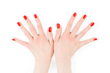Woman hands with perfect bright red polish