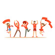 Group of sport fans in red outfit supporting their team shouting and cheering vector Illustration