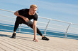 Man training on pier