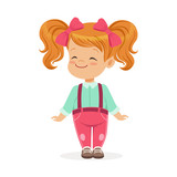 Sweet smiling little redhead girl in casual clothes with pink bows on her head, colorful cartoon character vector Illustration