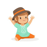 Cute little girl dressed in casual clothes and black hat colorful cartoon character vector Illustration