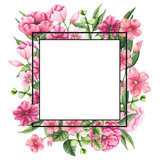 Frame with Watercolor Pink Flowers and Place for Text