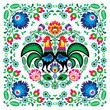 Polish floral folk art square pattern with rooster - wzory lowickie, wycinanki - 160838259