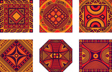 Vector color set of square African ornament - 160840237