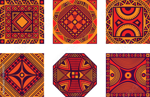 Fototapeta Vector color set of square African ornament