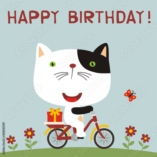 Happy Birthday Cute Kitten Cat Rides On Bike With Gift Card For