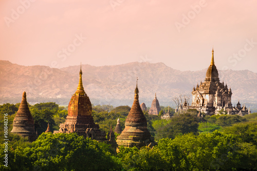myanmar sunset pagan bagan burma shadows Poster