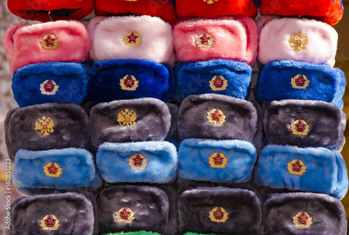 Traditional Russian military hats, Russian souvenirs in Moscow