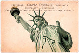 Statue of Liberty in New York, collage on sepia vintage postcard background, word