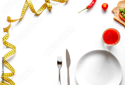 concept slimming diet fresh vegetables on white background top v