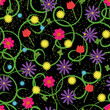 Flowers from hands seamless pattern on black background - 160868095