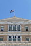Facade with flag of Greece