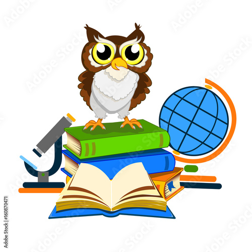 Foto op Aluminium Uilen cartoon Cheerful school owls