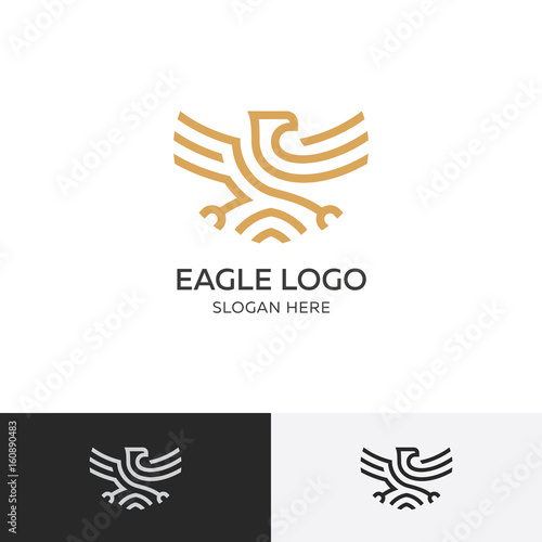 gold eagle logo concept vector illustration template emblem