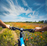Woman riding on a bicycle on the meadow - 160905855