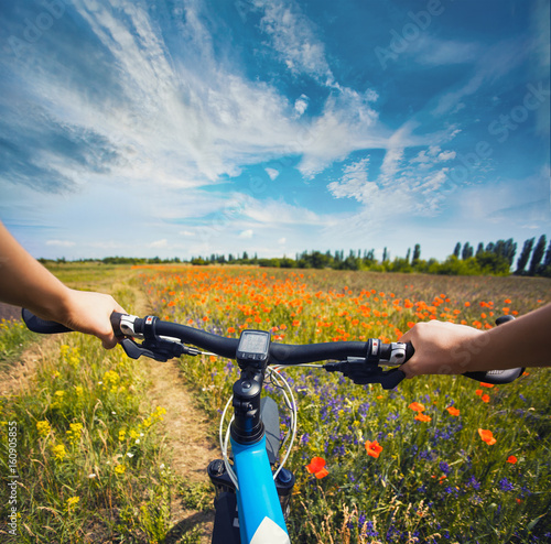 Woman riding on a bicycle on the meadow