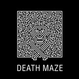 Skull and bones in a horrible deadly labyrinth - Creative logo, vector sign concept illustration. Layout T-shirts, prints, posters  for Halloween, zombie party, quests or a music concert with skulls - 160910262