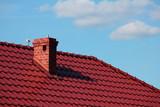 Roof with chimney, modern ceramic tile - 160913479