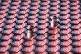 Roof with chimney, Roof ventilator, modern ceramic tile
