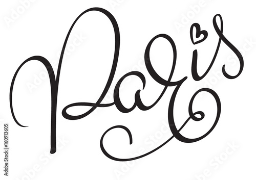 Paris Calligraphy lettering word on white background. Hand drawn Vector illustration EPS10