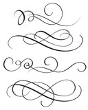 set of vintage flourish decorative art calligraphy whorls for text. Vector illustration EPS10 - 160914088