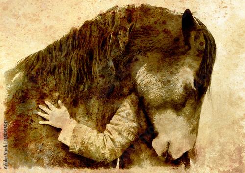Loving horse and a girl, girl hugging a horse. computer collage. Sepia effect.