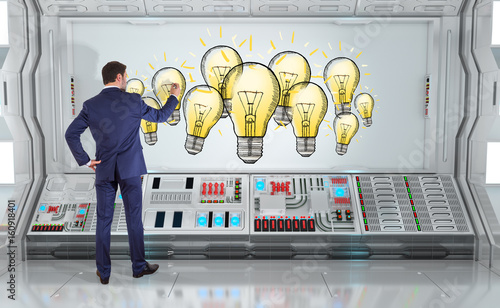 Businessman drawing innovation sketch on a board 3D rendering - 160918401