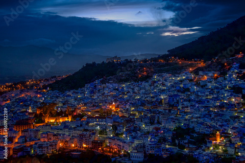 The city of Chefchaouen during blue hour.