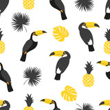 Seamless tropical pattern in black and yellow colors. Vector background with toucans, pineapples and palm leaves. - 160925001