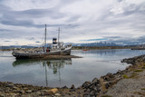 Abandoned HMS Justice tug boat grounded in Patagonia - Ushuaia, Tierra del Fuego, Argentina