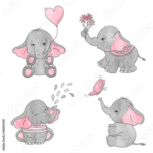Fototapeta Set of cute cartoon baby elephants. Vector watercolor illustration.