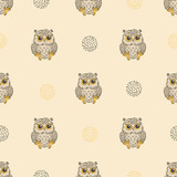 Cute baby owls pattern. Seamless vector background for kids design.