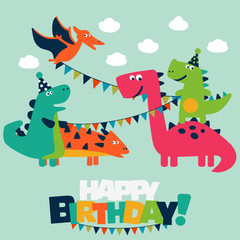 Happy birthday - lovely vector card with funny dinosaurs. Ideal for cards, logo, invitations, party, banners, kindergarten, preschool and children room decoration © cristinn